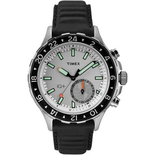 Timex Men's TW2R39500 IQ+ Move Multi Time Black/White Leather Strap Watch