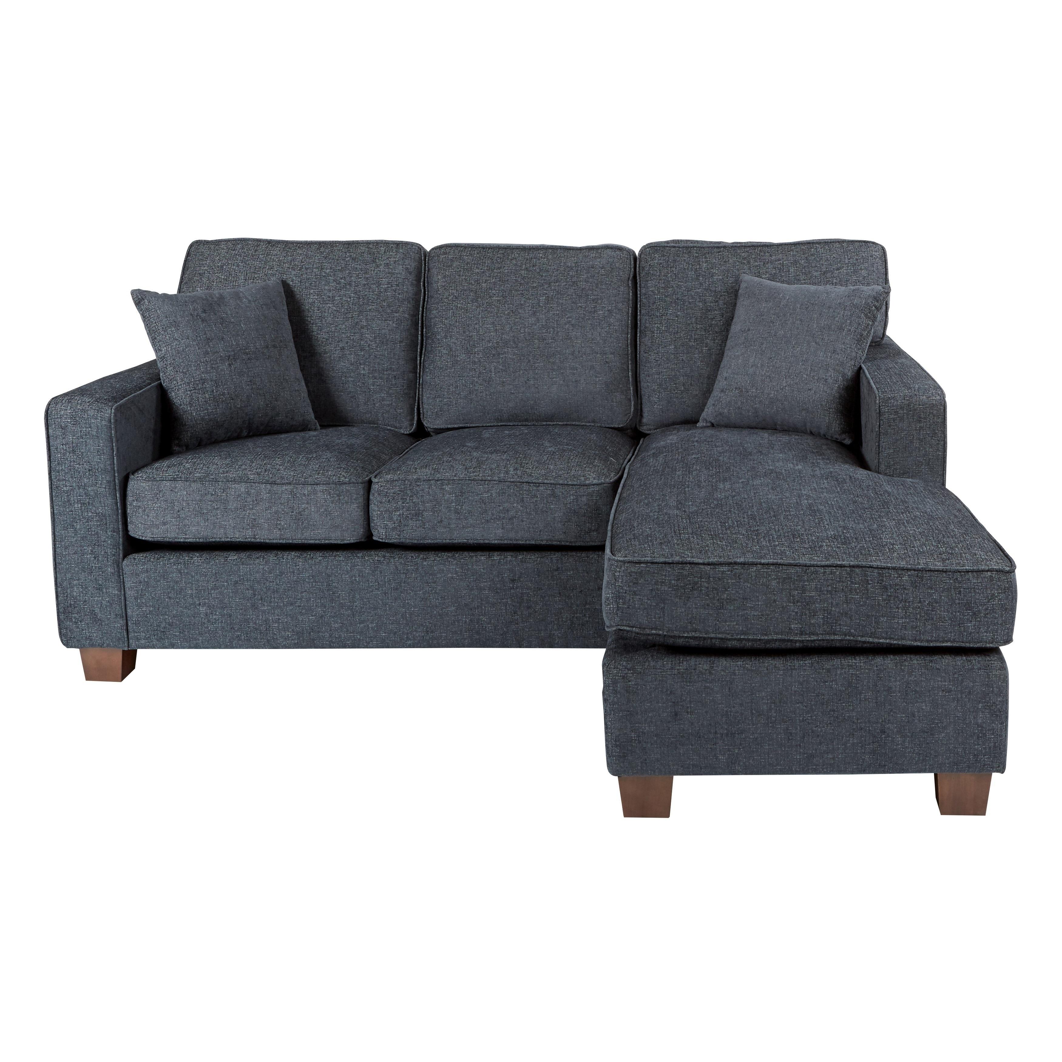 Reversible Sofa 3 Piece Sectional Sofa Set Gray Charcoal