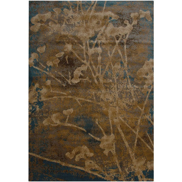 Rizzy Home Bellevue Blue Abstract Floral Area Rug - 9'2 x 12'6