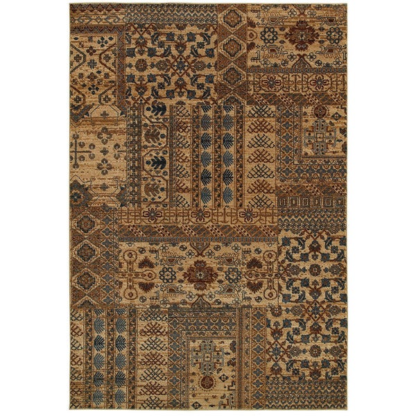 Rizzy Home Bellevue Brown/Beige Abstract Oriental Geometric Area Rug (9'2 x 12'6) - 9'2 x 12'6