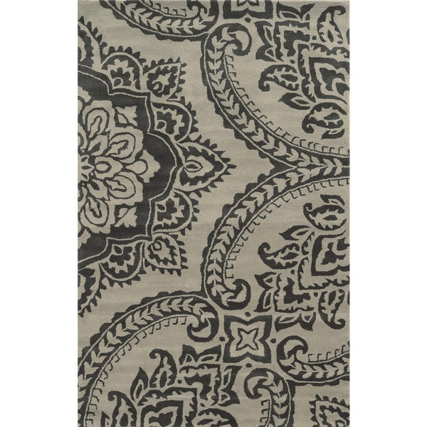 Rizzy Home Hand-tufted Volare Beige Wool Floral Area Rug - 8' x 10'