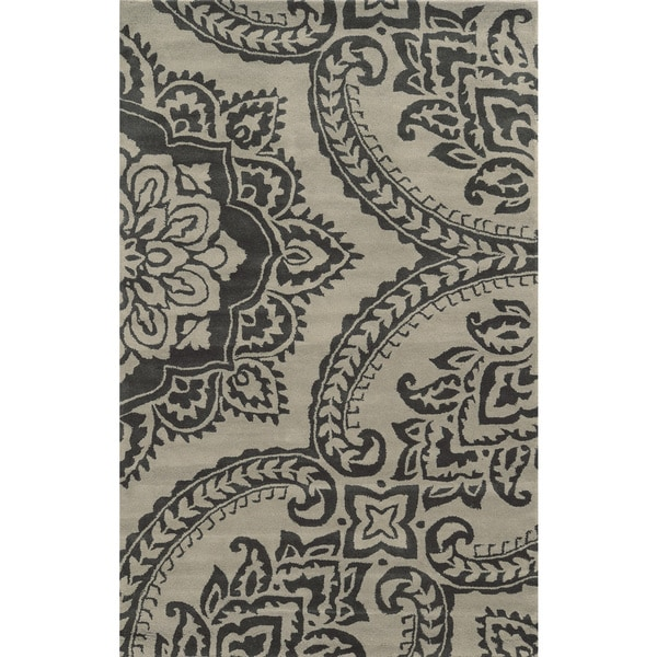 Rizzy Home Hand-tufted Volare Beige Wool Floral Area Rug (8' x 10') - 8' x 10'