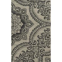 Volare Beige Wool Hand-tufted Floral Oriental Area Rug - 9' x 12'