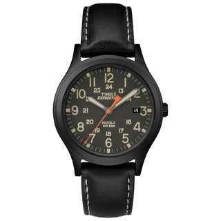 Timex Unisex TW4B11200 Expedition Scout 36 Black Leather Strap Watch (Option: Black)