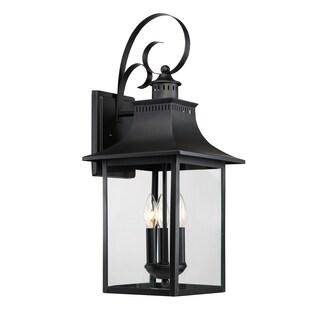 Quoizel Chancellor Mystic Black Steel Outdoor 3-light Wall Light