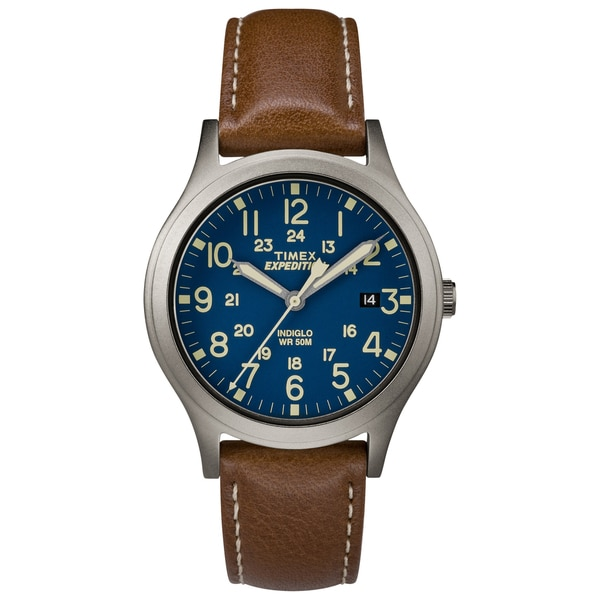 4d44f2415 Shop Timex Unisex TW4B11100 Expedition Scout 36 Brown/Titanium/Blue Leather  Strap Watch - Free Shipping Today - Overstock - 16766775