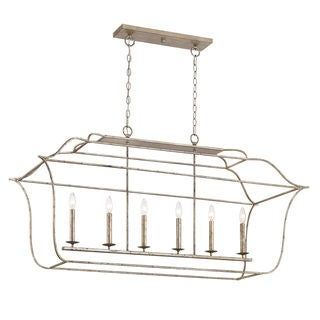 Quoizel Gallery Island Century Silver Leaf 6-light Hanging Light