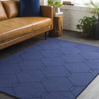 """Trocadero Blue Hand-Loomed Wool Area Rug - 5' x 7'6"""""""