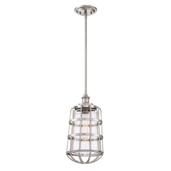 Shop quoizel maritime brushed nickel steelglass 85 inch diameter quoizel maritime brushed nickel steelglass 85 inch diameter mini pendant light aloadofball Images