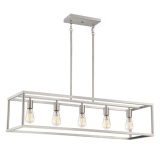 Quoizel New Harbor Brushed Nickel 5-light Island Fixture