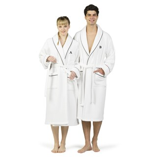 Authentic Hotel and Spa White Unisex Turkish Cotton Waffle Weave Terry Bath Robe with Black Block Monogram