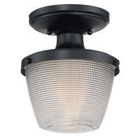 Quoizel Dublin Mystic Black Steel/Glass Semi-flush Light