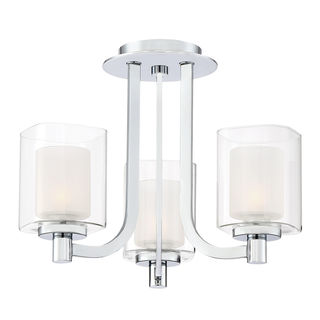 Quoizel Kolt 3-light Polished Chrome Steel/ Glass Semi-flush Chandelier