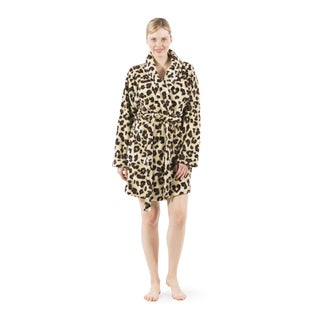 Authentic Hotel and Spa Women's Leopard Print Plush Bath Robe