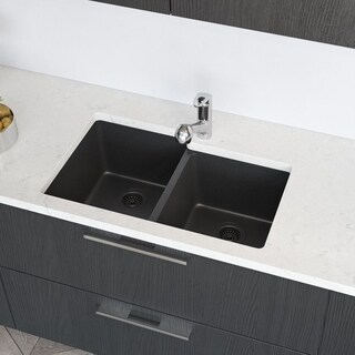 R3-1001-CGF Offset Double Bowl Composite Granite Kitchen Sink with Two Grids, Matching Colored Strainer and Flange