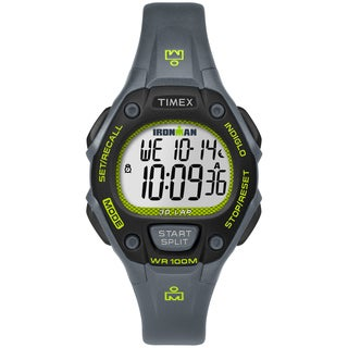 Timex Women's TW5M14000 Ironman Classic 30 Mid-Size Grey/Lime Resin Strap Watch