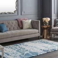 Colonial Home Blue Modern Abstract Wool Handmade Area Rug - 5' x 8'