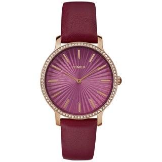 Timex Women's TW2R51100 Metropolitan Starlight Burgundy/Gold-Tone Leather Strap Watch