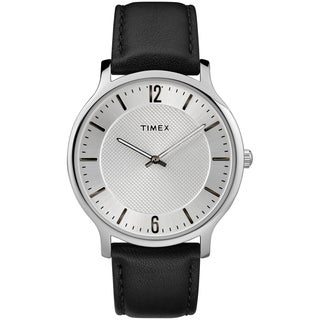 Timex Men's TW2R50000 Metropolitan Skyline Black/Silver-Tone Leather Strap Watch
