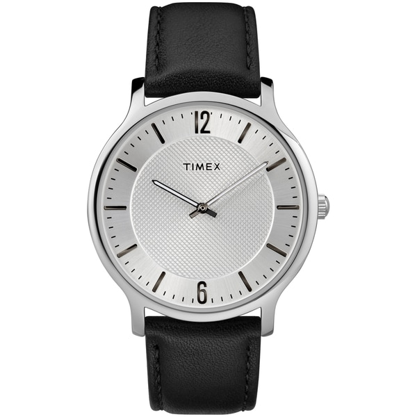 Timex Men's TW2R50000 Metropolitan Skyline Black/Silver-Tone Leather Strap Watch