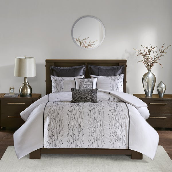 Madison Park Roux Silver 7 Piece Embroidered Duvet Cover Set