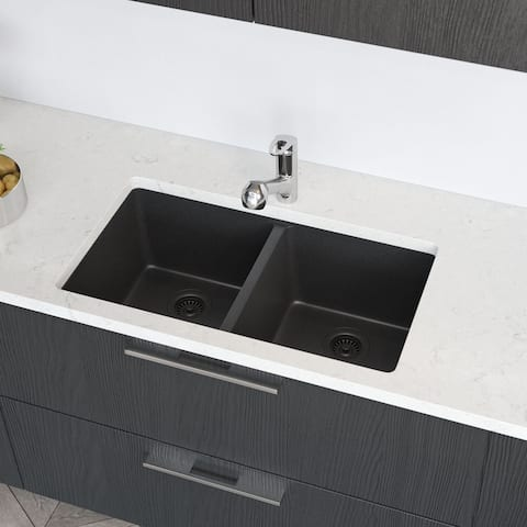 R3-1002-CGF Equal Double Bowl Composite Granite Kitchen Sink with Two Grids, Matching Colored Strainer and Flange