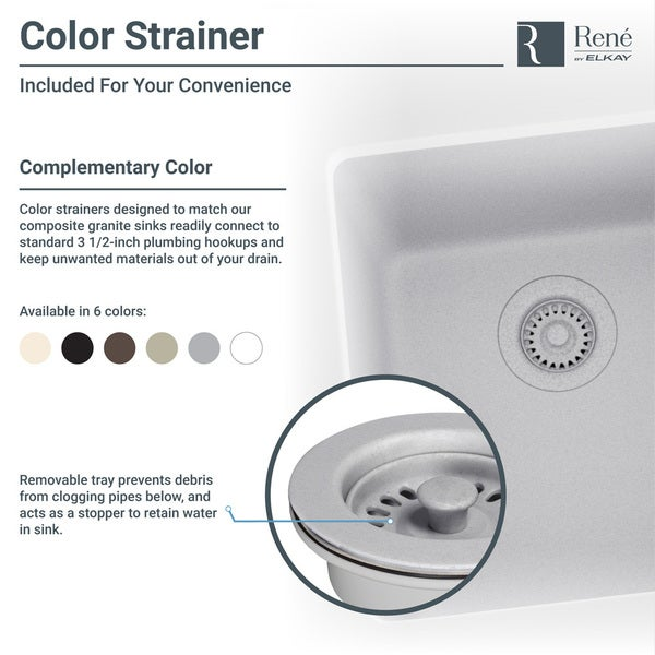 Ren By Elkay R3 1002 Cgf Equal Double Bowl Composite Granite Kitchen Sink With Two Grids Matching Colored Strainer And Flange Free Shipping Today
