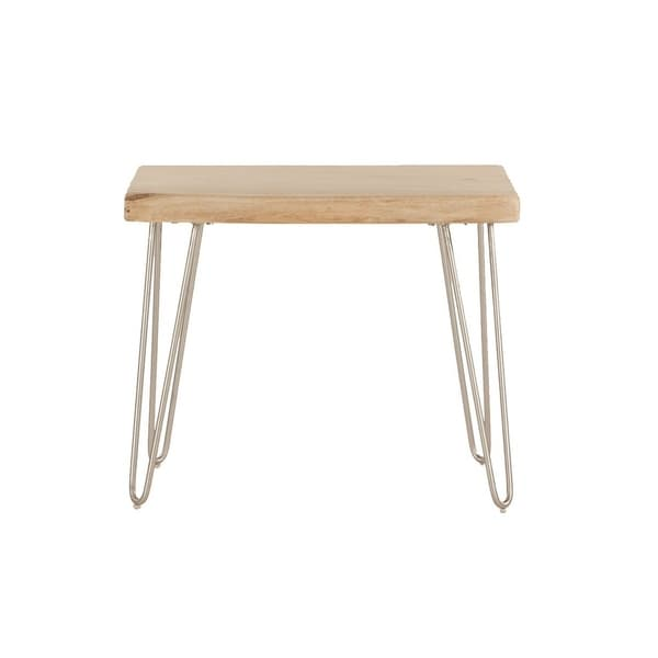 Acacia Live Edge Rectangle Side Table in Natural by World Interiors