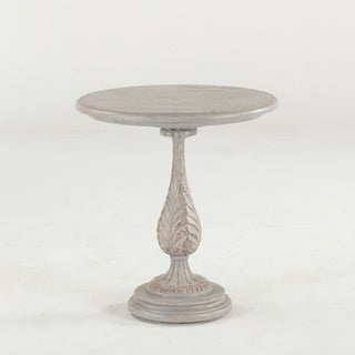 Distressed Greywash Carved Wood Pedestal Side Table by World Interiors