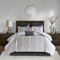 Madison Park Roux Silver 8 Piece Embroidered Comforter Set