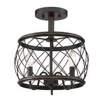 Quoizel Dury Palladian Bronze Semi-flush 3-light Pendant