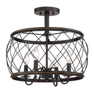 Quoizel Dury Palladian Bronze Steel 4-light Semi-flush Light