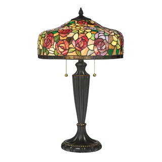 Quoizel Wild Rose Tiffany Red/Green/Yellow Resin/Glass Table Lamp