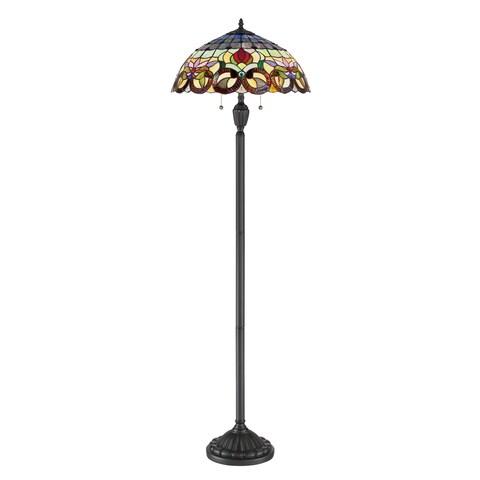 Gracewood Hollow Qosja Bronze Metal/Stained Glass Tiffany-style Floor Lamp