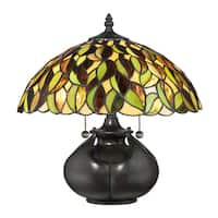 Quoizel Greenwood Tiffany Multicolored Resin/Glass/Metal Table Lamp