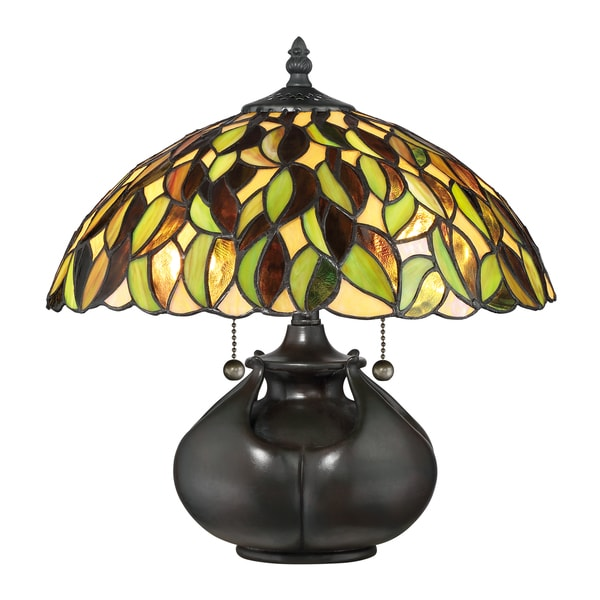 Quoizel Greenwood Tiffany Multicolored Resin Gl Metal Table Lamp