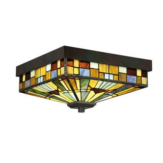 Quoizel Inglenook Tiffany Blue/Red/Yellow Metal/Glass 14-inch Flush-mount Fixture