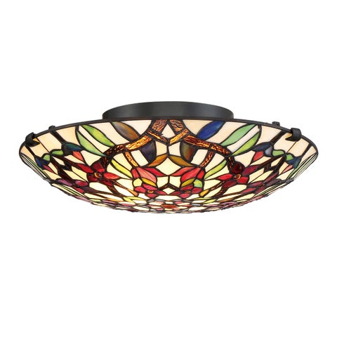 Gracewood Hollow Stermilli Tiffany Blue/Red/Yellow Metal/Glass Flush-mount Fixture