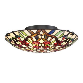 Quoizel Red Blossom Tiffany Blue/Red/Yellow Metal/Glass Flush-mount Fixture - Thumbnail 0