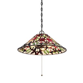 Quoizel Red Blossom Stained Glass/Bronze Tiffany-style Pendant Light
