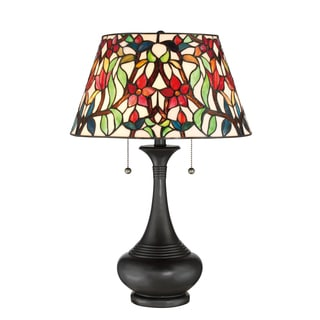 Quoizel Red Blossom Tiffany Table Lamp