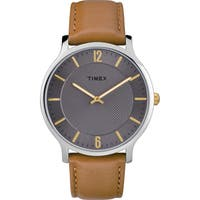 Timex Men's TW2R49700 Metropolitan Skyline Brown/Grey Leather Strap Watch