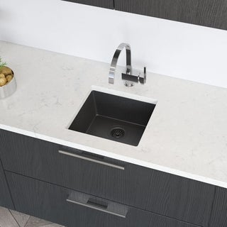 René By Elkay R3-1003 Single Bowl Composite Granite Kitchen Sink with Grid and Matching Colored Strainer