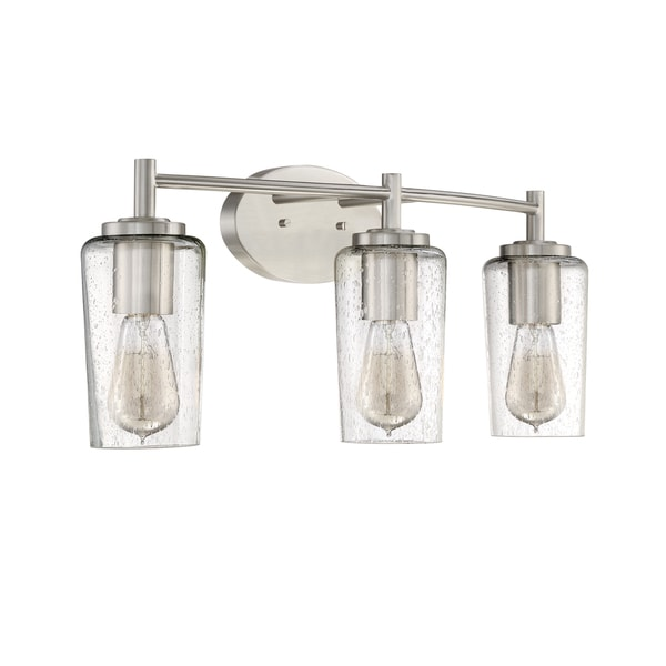 Shop quoizel edison brushed nickel 3 light bath fixture - 8 light bathroom fixture brushed nickel ...