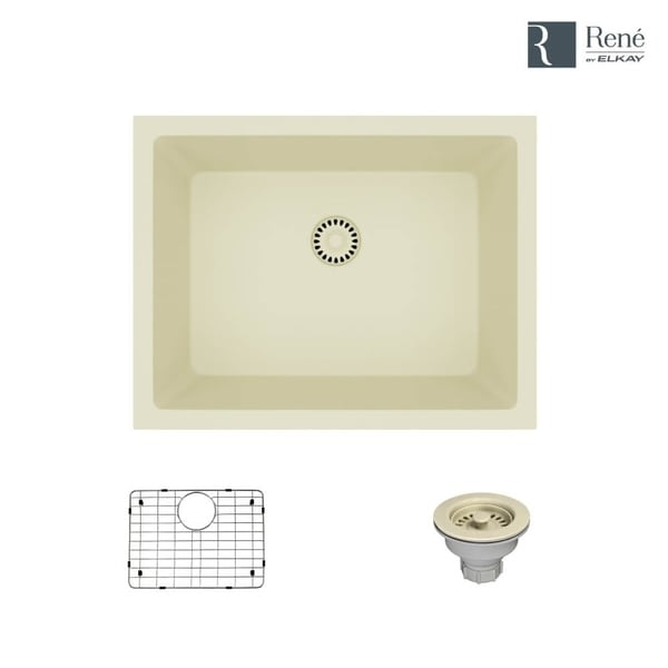 R3-1004 Single Bowl Composite Granite Kitchen Sink with Grid and Matching Colored Strainer