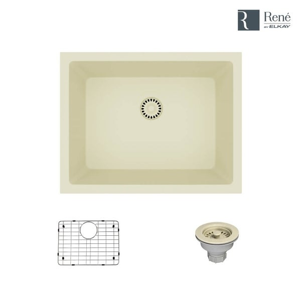 René By Elkay R3-1004 Single Bowl Composite Granite Kitchen Sink with Grid and Matching Colored Strainer