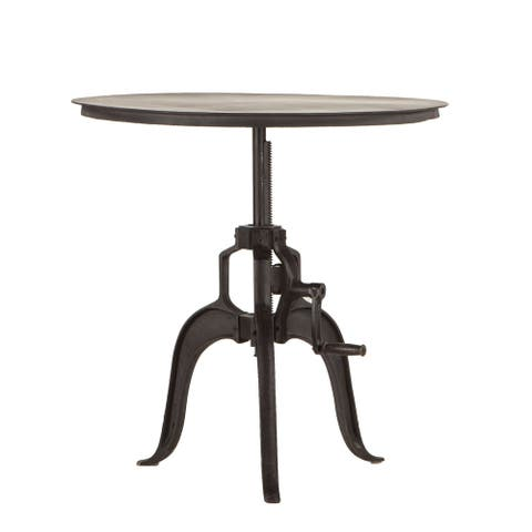 Reclaimed Metal Large Adjustable Crank Side Table by World Interiors
