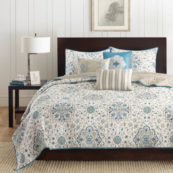 Madison Park Maya Teal 6 Piece Coverlet Set