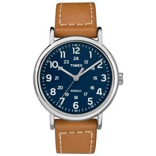 Timex Men's TW2R42500 Weekender 40 Brown/Blue Leather Strap Watch