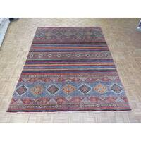 Super Kazak Multicolor Wool Hand-knotted Oriental Rug - Multi - 9'1 x 12'1